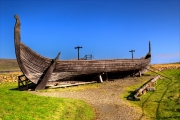Replica Viking longboat near Haroldswick.