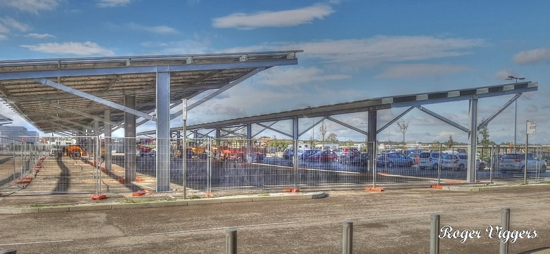 Solar panels being installed over the car parking at E.Leclerc Arles.
