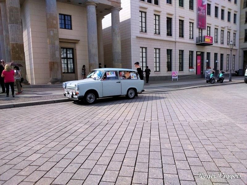DJ in a Trabant at the Brandenburg Gate