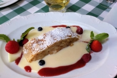 Apple and pear strudel, custard and cream