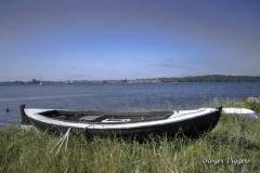 Viking design boat in use in Denmark