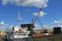 Unloading timber from a Lithunaian ship in Wisbech