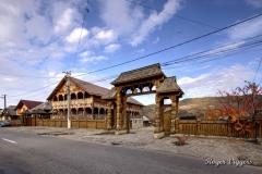 Hotel and entrance, Oncesti, Romania