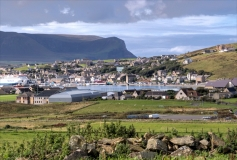 Stromness with Hoy in the background.